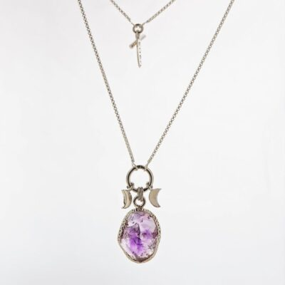 amethyst raw stone necklace