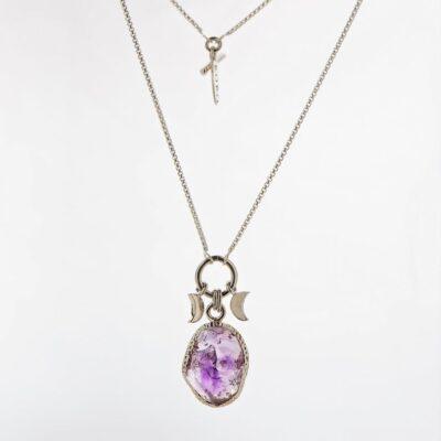 amethyst raw stone necklace