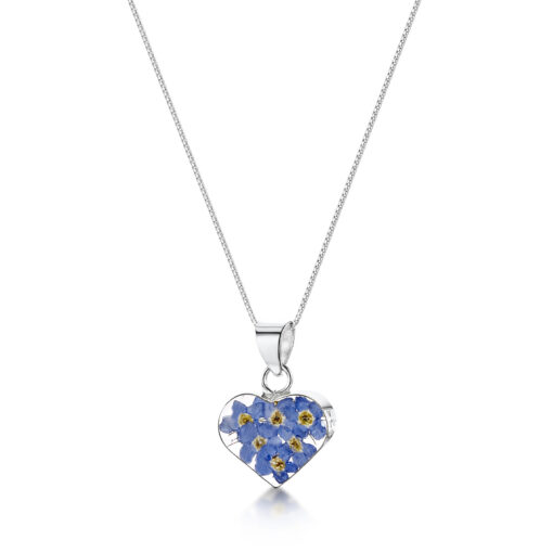 real flower forget me not necklace
