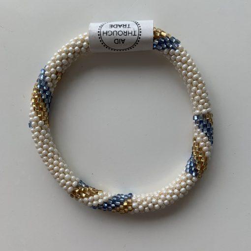 roll on bracelet blue gold