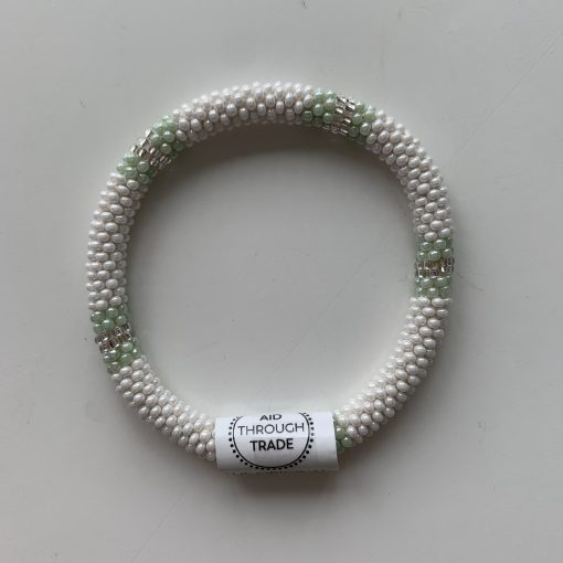 roll on bracelet green white