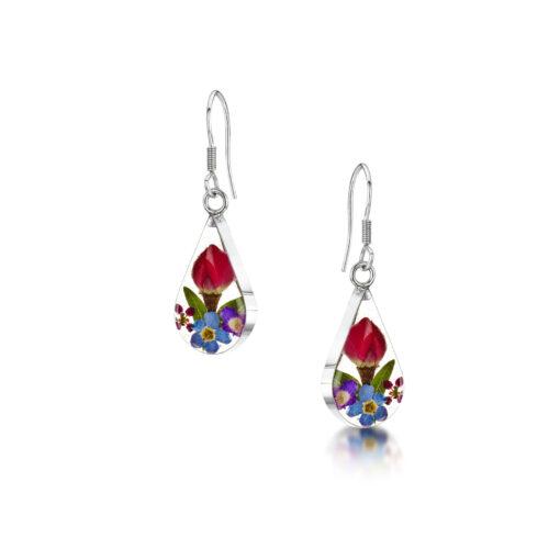 real flower mixed earrings
