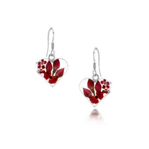 real flower heart earrings